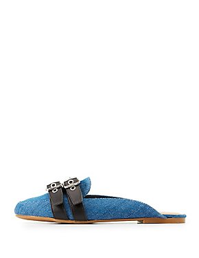Bamboo Buckled Denim Loafer Mules