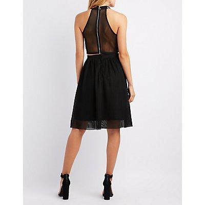 Mesh Pleated Midi Skirt