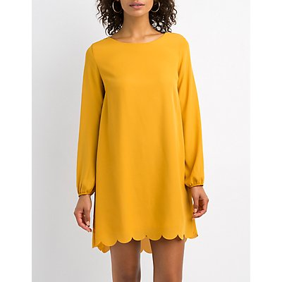 Scalloped-Trim Open-Back  Shift Dress