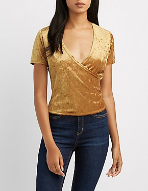 Velvet Surplice Crop Top