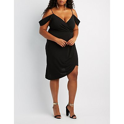 Plus Size Surplice Cold Shoulder Midi Dress