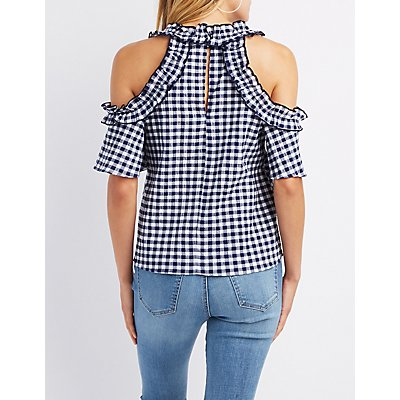 Ruffle-Trim Gingham Cold Shoulder Top