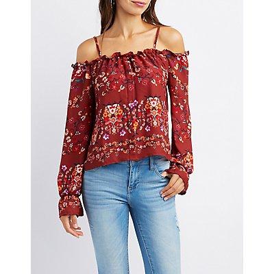 Floral Cold Shoulder Button-Up Top