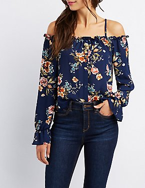 Ruffle-Trim Cold Shoulder Button-Up Top