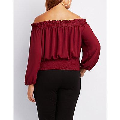 Plus Size Corset-Detail Off-The-Shoulder Top