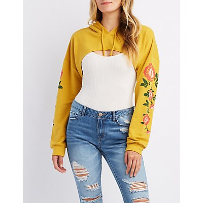 Floral Print Open Cropped Hoodie