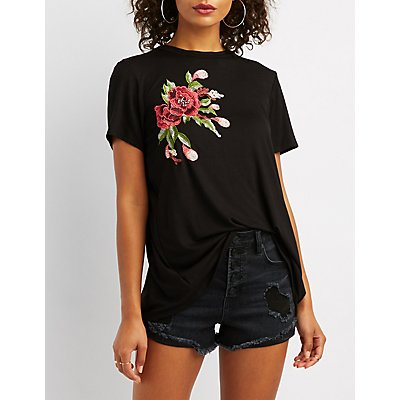 Floral Patch Open-Back Tee