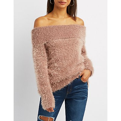 Fuzzy Plush Off-The-Shoulder Top