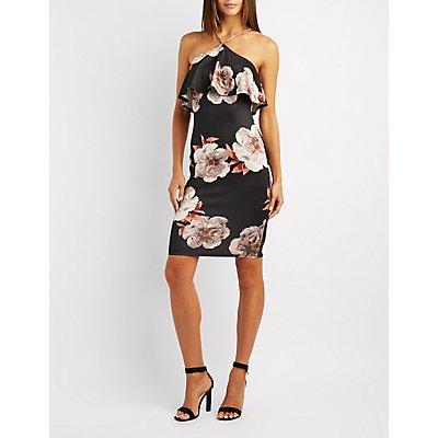 Floral Ruffle Bib Neck Bodycon Dress