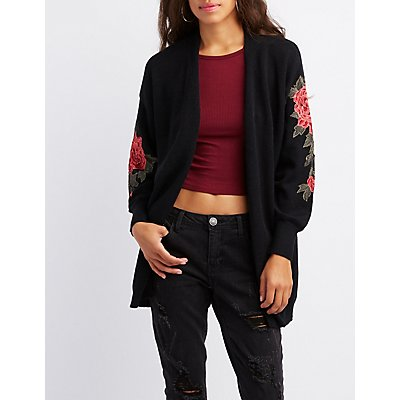 Floral Embroidered Open-Front Cardigan