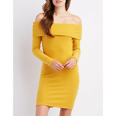 Brushed Off-The-Shoulder Bodycon Dress