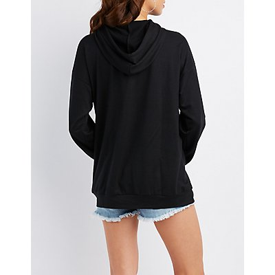 Cut-Out Drawstring Hoodie