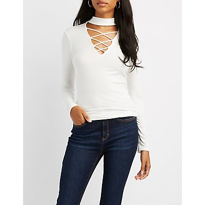 Ribbed Choker Neck Lattice-Front Top