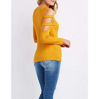 Ribbed Cut-Out Sleeve Top