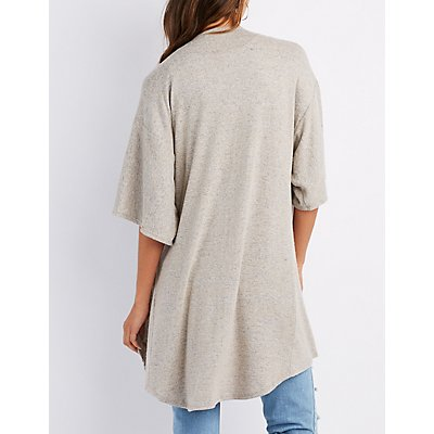Hacci Knit Open-Front Cardigan
