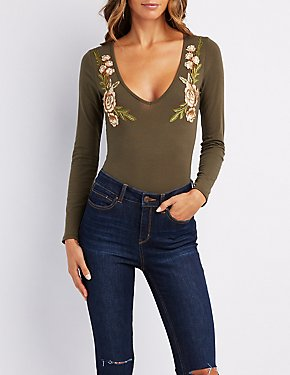 Floral Embroidered V-Neck Bodysuit