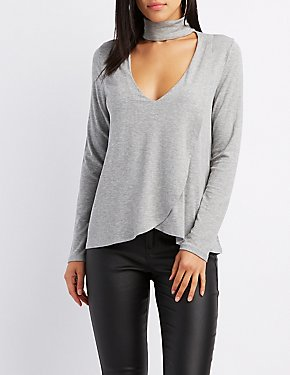 Ribbed Turtle Neck Cut-Out Wrap Top