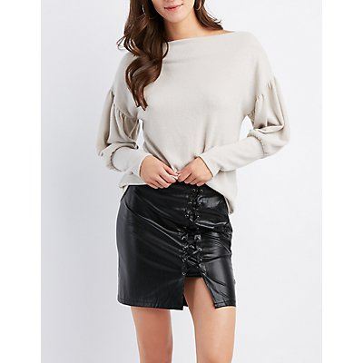 Brushed Off-The-Shoulder Balloon Sleeve Top