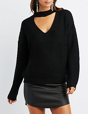 Shaker Stitch Mock Neck Cut-Out Sweater