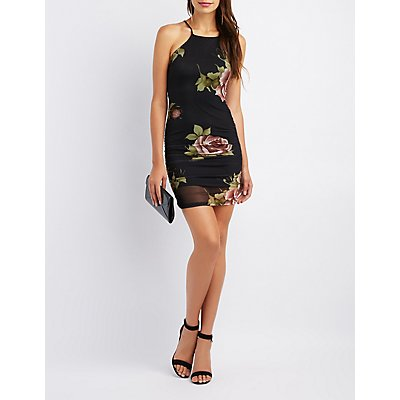 Floral Ruched Mesh Bib Neck Bodycon Dress