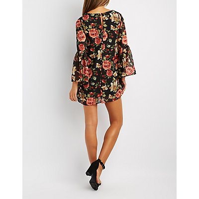 Floral Bell Sleeve Shift Dress