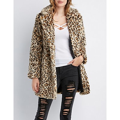 Leopard Faux Fur Notched Lapel Coat