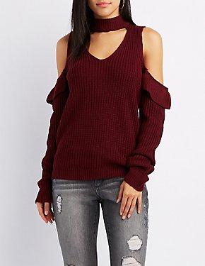Shaker Stitch Choker Neck Ruffle-Trim Cold Shoulder Sweater