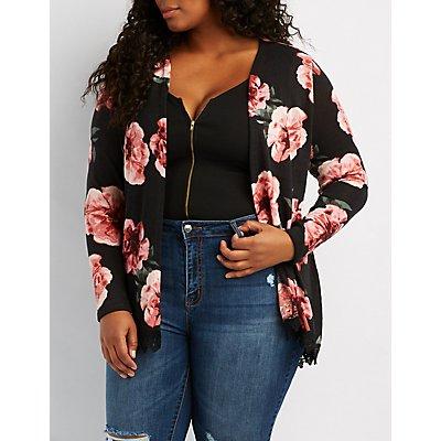 Plus Size Crochet-Trim Floral Cardigan