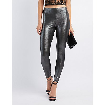 Metallic High-Rise Liquid Leggings