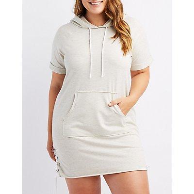 Plus Size Space-Dye Lace-Up Detail Hooded Sweatshirt Dress