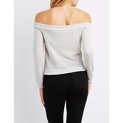 Off-The-Shoulder Zip-Front Sweatshirt