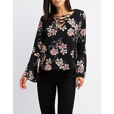 Floral Lattice-Front Bell Sleeve Top