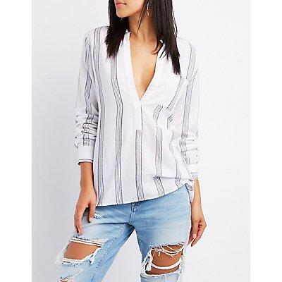 Striped Linen Split Mandarin Collar Top