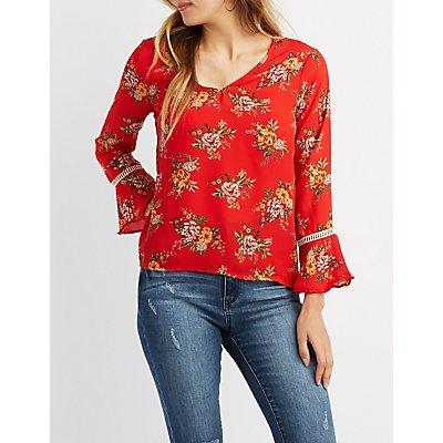 Floral V-Neck Bell Sleeve Top