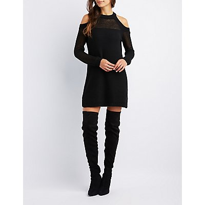 Mixed Knit Cold Shoulder Sweater Dress