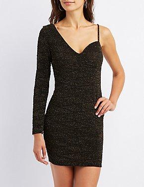 Glitter One Shoulder Bodycon Dress