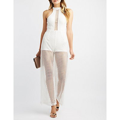 Mock Neck Mesh Combo Jumpsuit