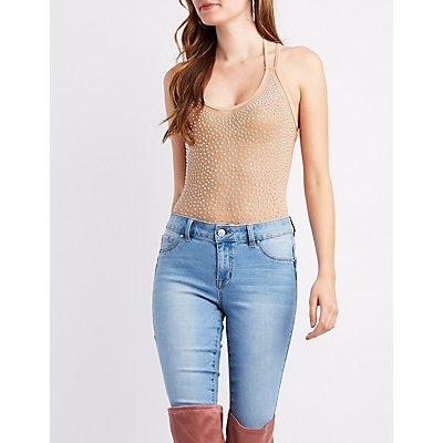 Strappy Studded Mesh Bodysuit