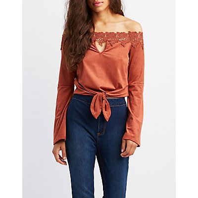 Faux Suede Crochet-Trim Off-The-Shoulder Bell Sleeve Top
