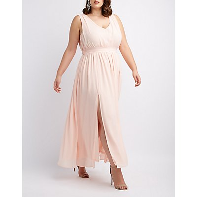 Plus Size Pleated Chiffon Maxi Dress
