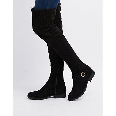 Bamboo Faux Suede Over-The-Knee Boots