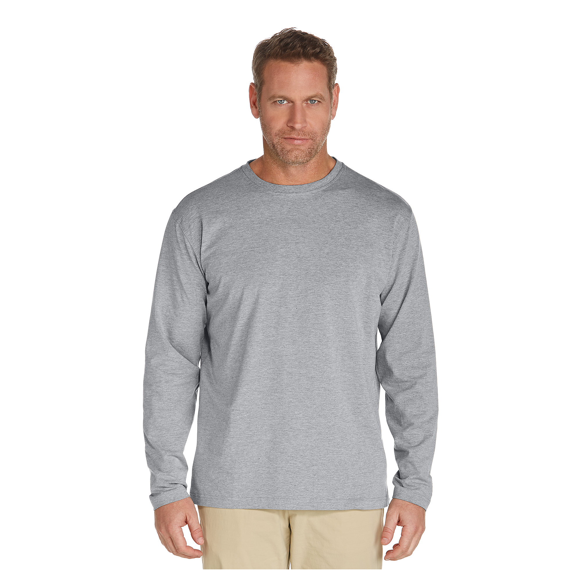 Coolibar upf 50 mens zno long sleeve t shirt sun protective for Custom sun protection shirts