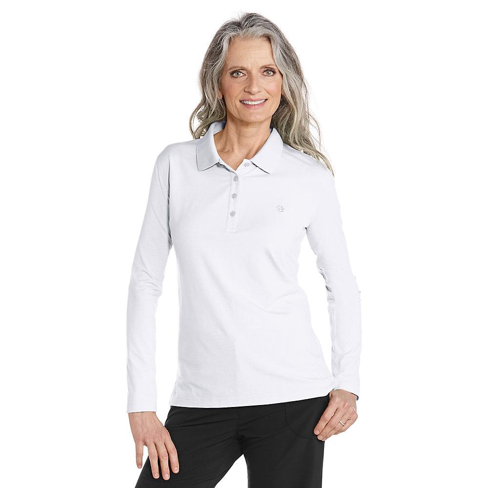 Coolibar upf 50 women 39 s long sleeve polo shirt ebay for Sun protection golf shirts