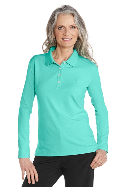 Long sleeve polo shirt plus size sun protective for Plus size polo shirts ladies