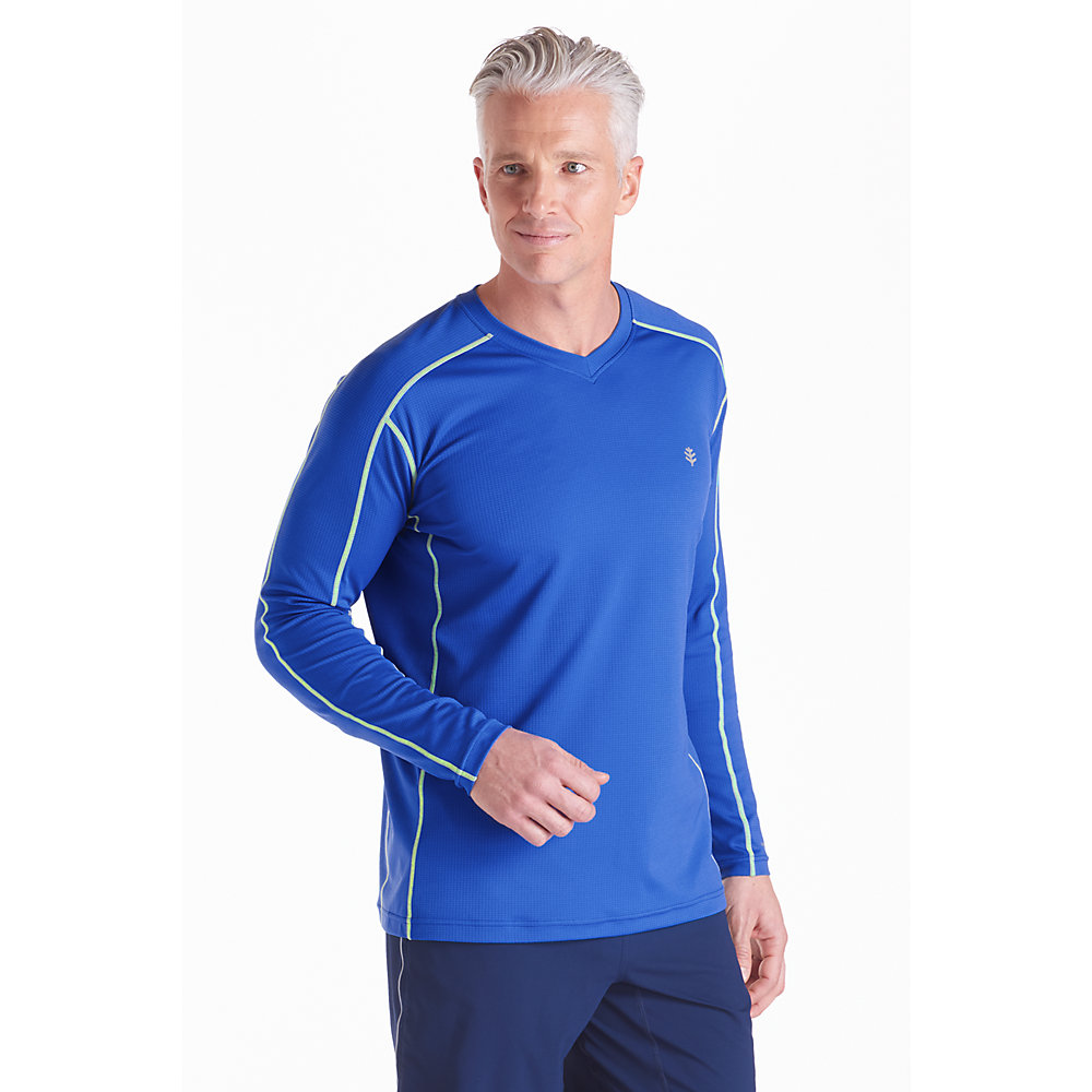 Coolibar upf 50 men 39 s long sleeve cool fitness shirt sun for Mens long sleeve uv protection shirt
