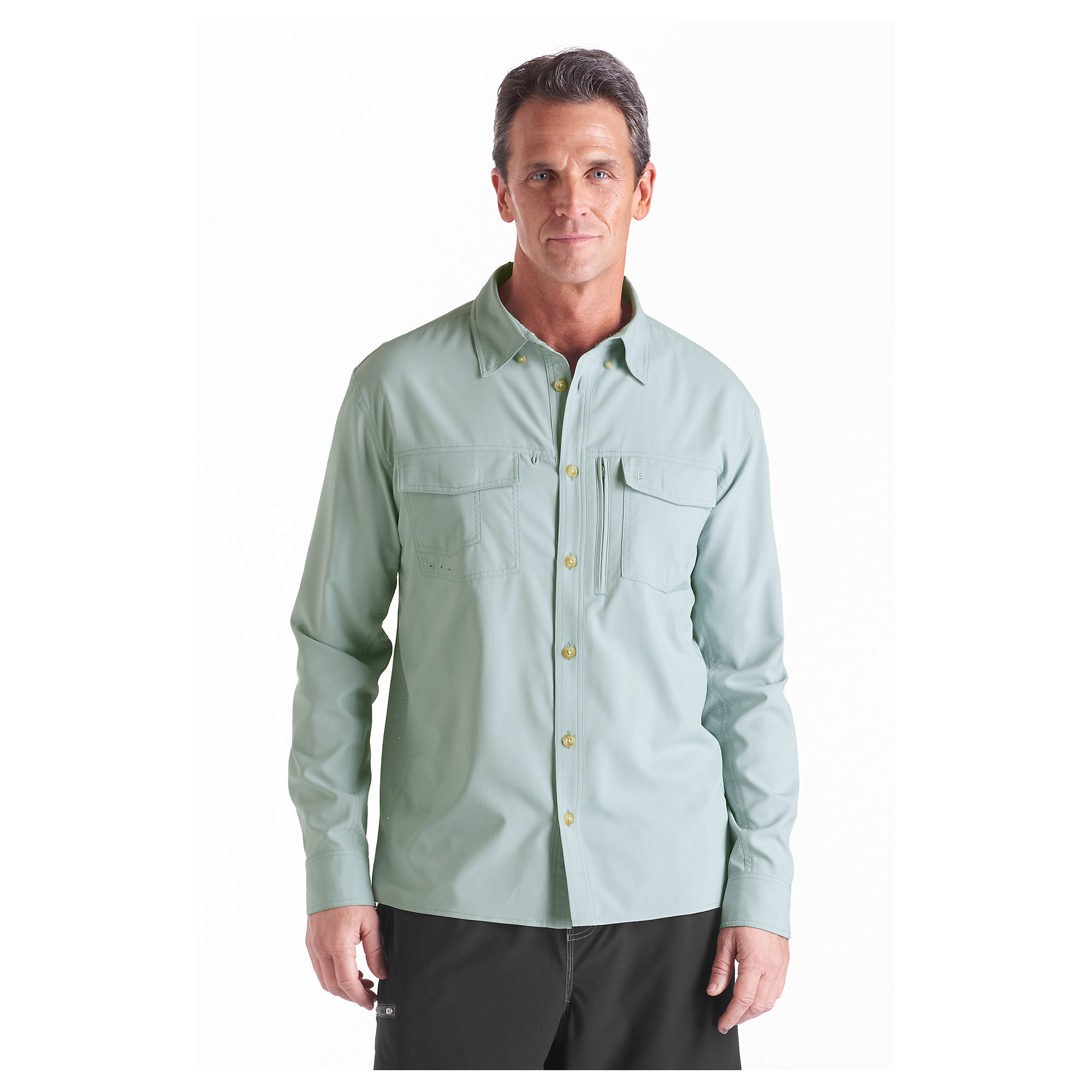 Coolibar upf 50 men 39 s fishing shirt sun protective ebay for Spf shirts for fishing