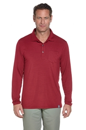 Coolibar Mens Merino Wool UPF 50 Polo Shirt - Brick Red/Black/Blue Space Dye