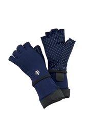 Fingerless Aqua Gloves