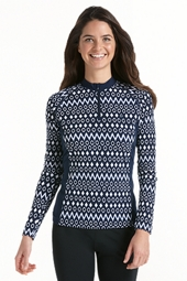 Quarter Zip Long Sleeve Swim Shirt - Print