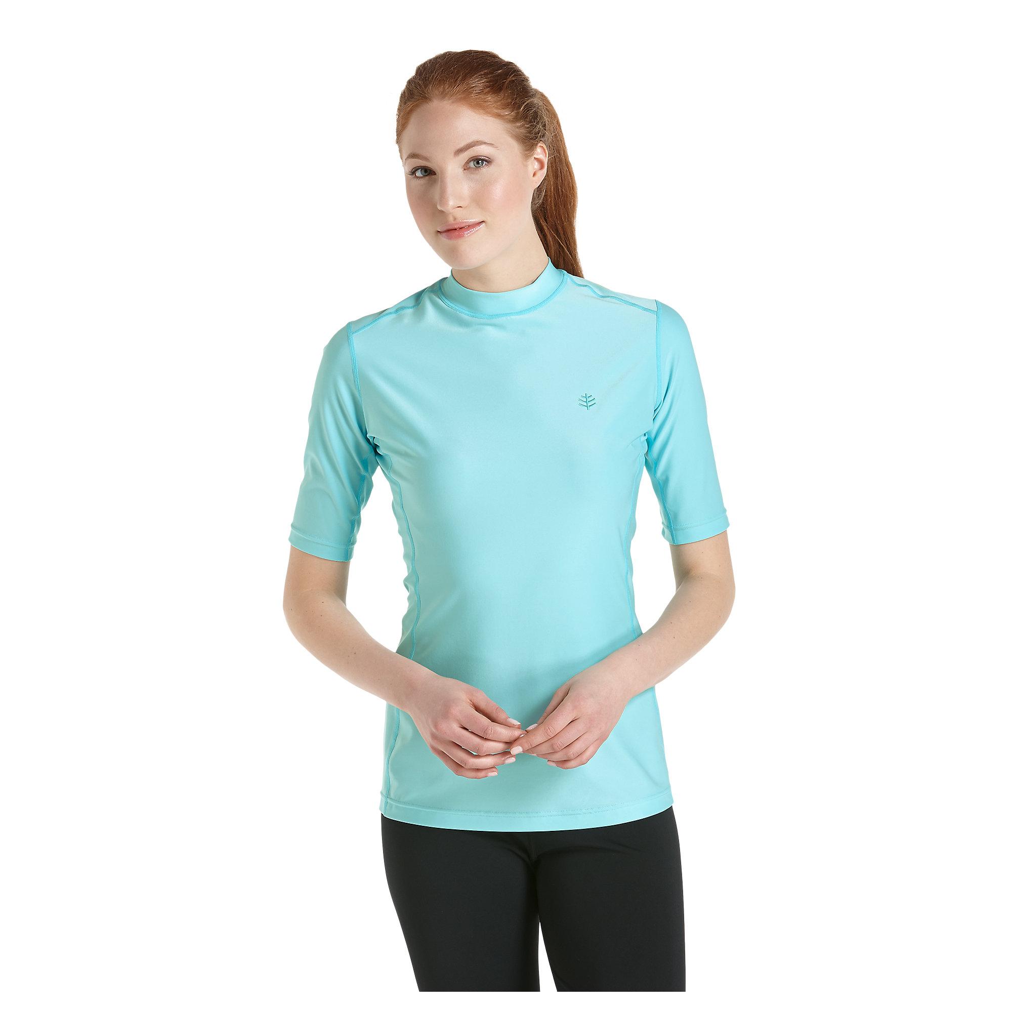 Coolibar upf 50 women 39 s short sleeve rash guard ebay for Womens rash guard shirts